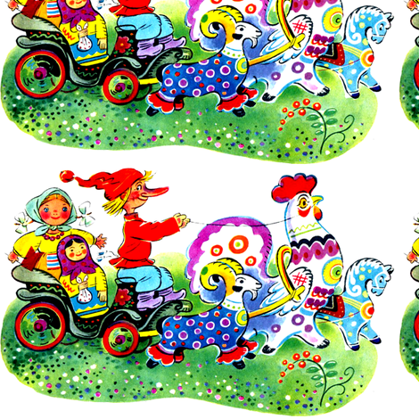 gnomes farmers peasants Matryoshka dolls carts wagons goats roosters horses colorful rainbow polka dots spots flowers rams russian vintage fabric by raveneve on Spoonflower - custom fabric