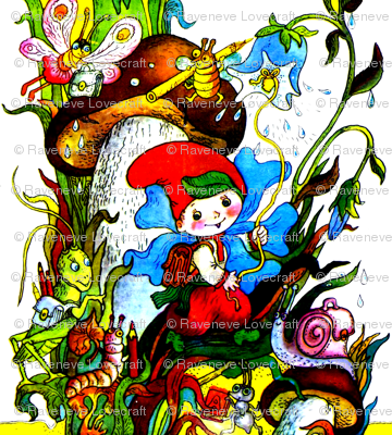 butterfly school bags bugs insects plants flowers mushrooms toadstools color pencils grasshoppers caterpillars snails blue bells gnomes elf pixie
