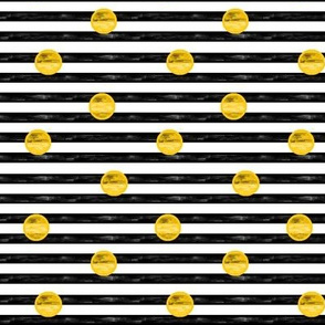 Small Painted Gold Dots on Stripes