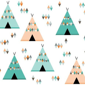 Teepees in teal