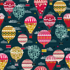 hot air balloon // custom colors blue and red balloon vintage retro flying machines