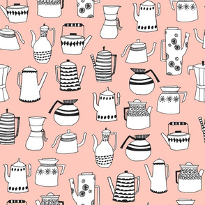 teapot // coffee pot tea hand-drawn illustration pink kitchen towel tea towel fabric