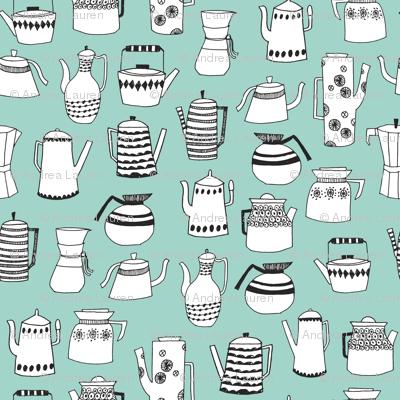teapot // coffee pot tea cup chemex coffee mint food kitchen print