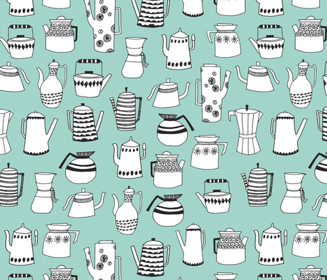 teapot // coffee pot tea cup chemex coffee mint food kitchen print fabric by andrea_lauren on Spoonflower - custom fabric