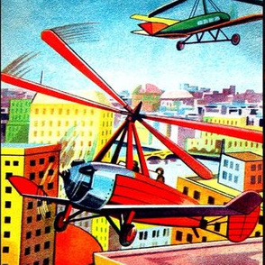aviation planes airplanes helicopters pilots city towns buildings houses apartments rivers canals vintage retro kitsch