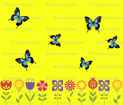 Graphic blooms and butterflies