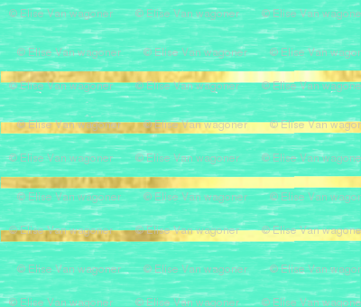 Mint with Metallic Gold Stripes