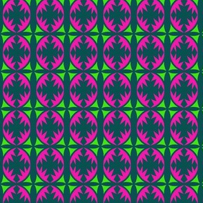 Ovals and Crosses Green Pink