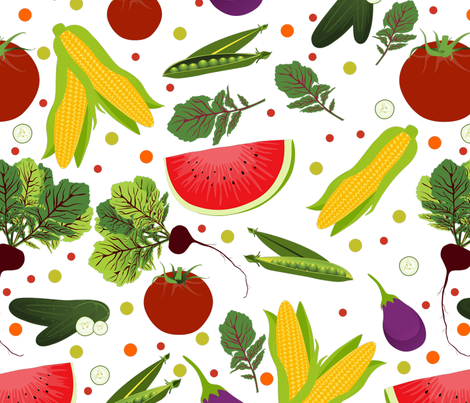 Fruits and Vegetable Rain fabric by puggy_bubbles on Spoonflower - custom fabric