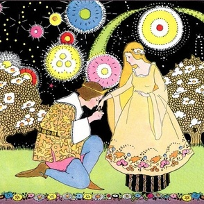 prince princesses proposal medieval fairy tales trees flowers fireworks rainbow colorful stars vintage retro night