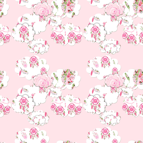 Shabby Chic Clouds on pink fabric by karenharveycox on Spoonflower - custom fabric
