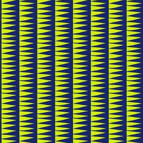 Sawtooth Columns Yellow Navy Small