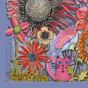 "Cat's Garden panels designed for 54""fabric width"