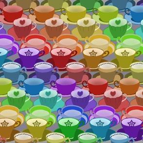 Rainbow Tea Cups Large