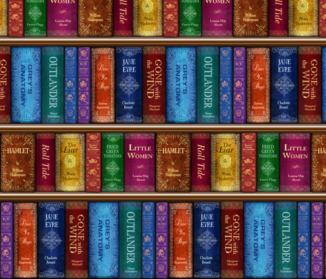 Teresas Bookshelf Fabric By Sssowers On Spoonflower