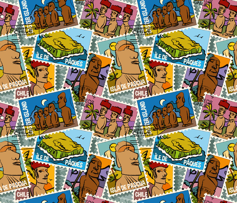 Easter island fabric by leventetladiscorde on Spoonflower - custom fabric