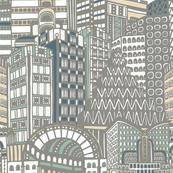 Art Deco City Pale Grey Pastels