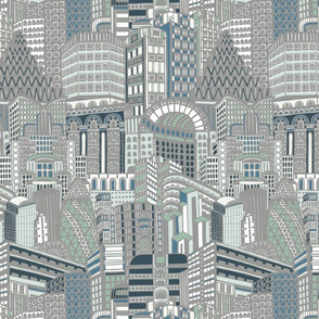 Art Deco City Pale Grey Pastels