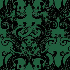 Skull & Tentacle in Dark Green