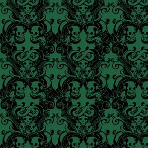 Skull & Tentacle in Dark Green halfsize