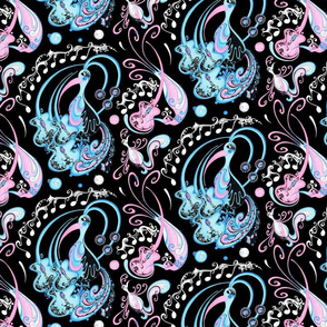 Guitar Beaks, Musical Birds- Music Notes- Black Background- Light Blue, Light Pink, Pastel