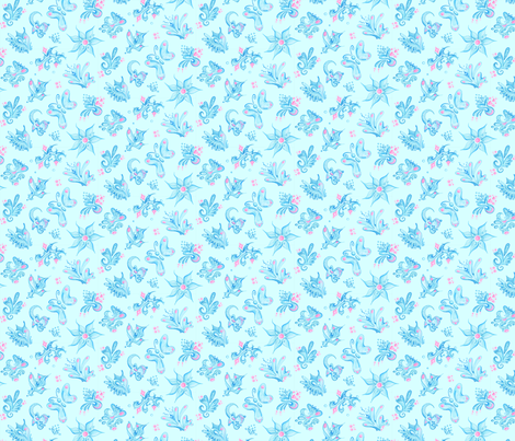 Blue Designs- Small- Light Blue Background- Swirly Shapes Designs fabric by nicole_denise_designs on Spoonflower - custom fabric