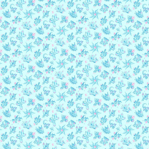 Blue Designs- Small- Light Blue Background- Swirly Shapes Designs