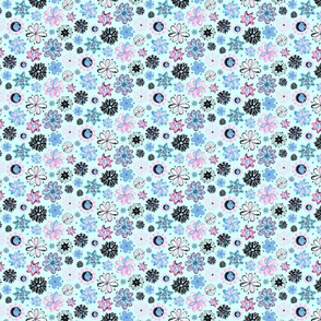 Ornate Flowers- Small- Light Blue Background- Blue Black Pink Swirly Flowers Pastel Designs