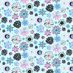 Ornate Flowers- Large- Light Blue Background- Pink Blue Black Swirly Flowers, Designs