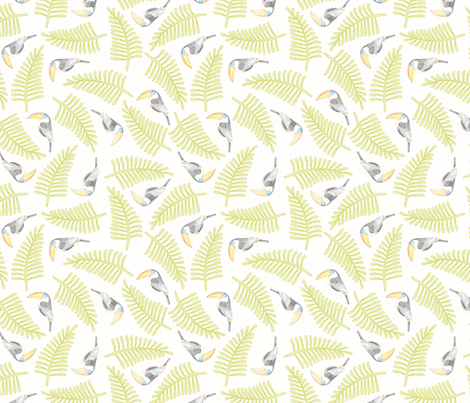 Watercolor_Ditsy Toucan fabric by mia_valdez on Spoonflower - custom fabric