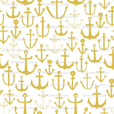 anchors //  mustard yellow anchor baby nursery fabric nautical design andrea lauren