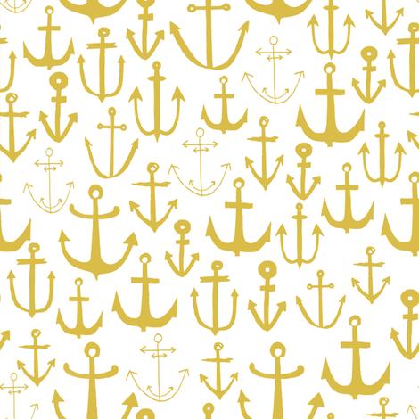 anchors //  mustard yellow anchor baby nursery fabric nautical design andrea lauren fabric by andrea_lauren on Spoonflower - custom fabric