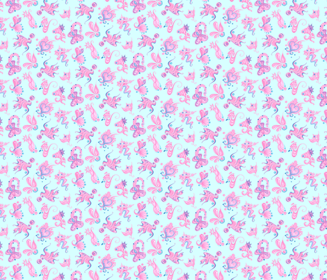 pink designs small light blue background swirly intricate fabric by nicole_denise_designs on spoonflower