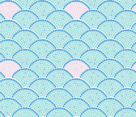 Mosaic Archs: Mint and Rose fabric by mia_valdez on Spoonflower - custom fabric