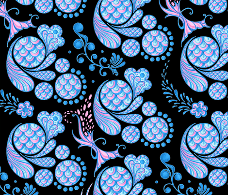 Scales- Large- Black Background- Blue Pink Pastel Designs fabric by nicole_denise_designs on Spoonflower - custom fabric