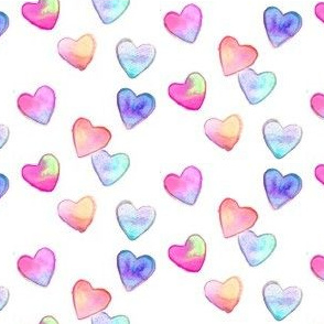 watercolor hearts multi