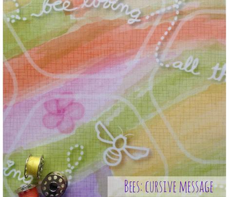 Bees: Cursive Message & Honeycomb