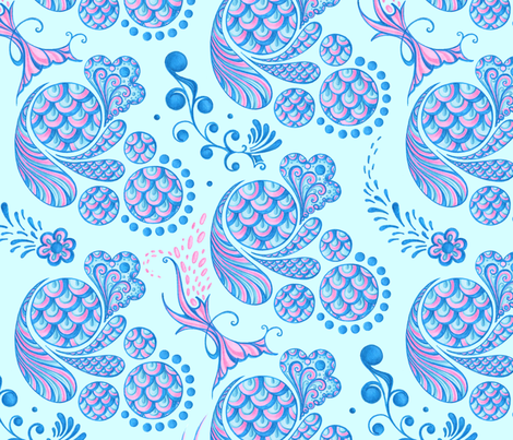 Scales- Large- Light Blue Background- Blue Pink Pastel Designs fabric by nicole_denise_designs on Spoonflower - custom fabric