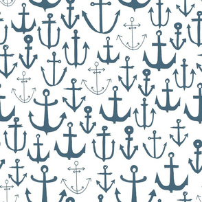 anchors // blue grey anchor nautical design baby nursery cute anchors anchor fabric