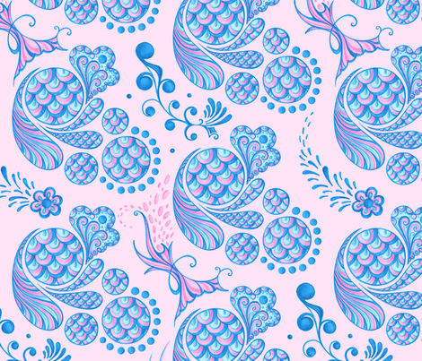 Scales- Large- Pink Background- Blue Pink Pastel Designs fabric by nicole_denise_designs on Spoonflower - custom fabric