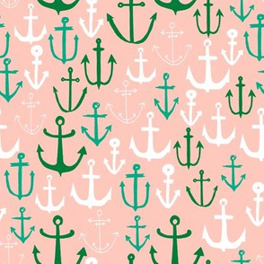 anchor // pink and green anchors nautical design nautical fabrics andrea lauren andrea lauren fabric