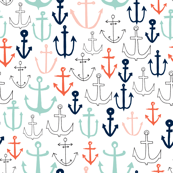 anchors //  mint navy red nautical fabric anchor fabric andrea lauren fabric andrea lauren design