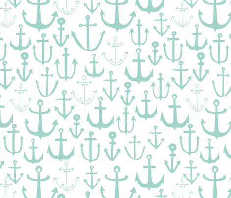 Anchor anchors mint anchor nautical fabric baby nursery for Nautical nursery fabric