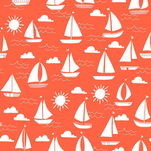 Sailboats - Coral by Andrea Lauren