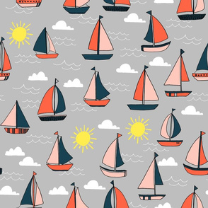 Sailboats - Grey/Pale Pink/ Maize Yellow/ Coral by Andrea Lauren