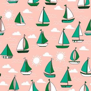 Sailboats - Pale Pink/Kelly Green/Jungle Green by Andrea Lauren