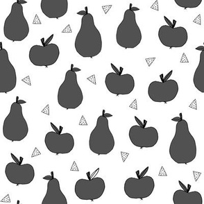 apples and pears // black and white dark grey kids fruits