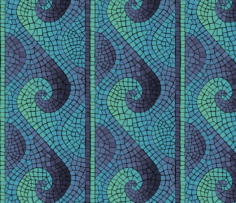 wave mosaic - indigo, blue, aqua, green fabric by weavingmajor on Spoonflower - custom fabric