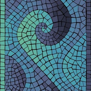 wave mosaic - indigo, blue, aqua, green