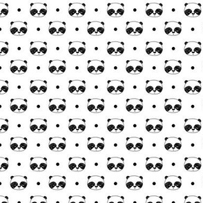 panda // black and white panda cute illustration kawaii panda face fabric